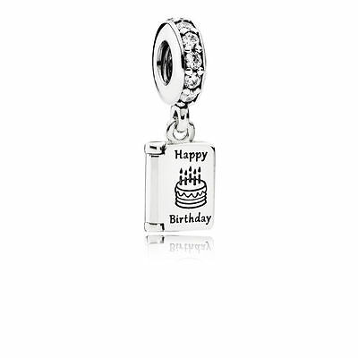 New Pandora Dangle Happy Birthday Wishes Charm Sterling Silver Charm W  Pouch