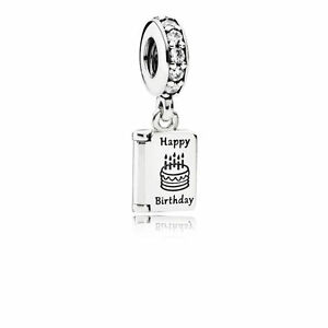 c5cd83dfd New PANDORA Dangle Happy Birthday Wishes Charm Sterling Silver Charm W/  POUCH