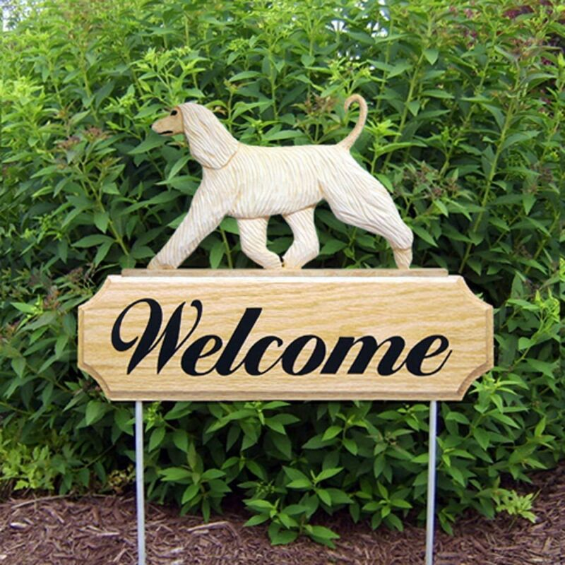Afghan Breed Wood Welcome Outdoor Sign Cream
