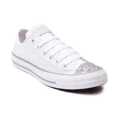 Glitter Star Shoe - New CONVERSE All Star Glitter Toe Sneakers Shoes White Womens Shiny
