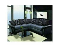 🌞HUGE SALE ON BRAND NEW SHANNON SOFA- FABRIC & FAUX LEATHER LEFT / RIGHT CORNER   3 2 SEATER GREY