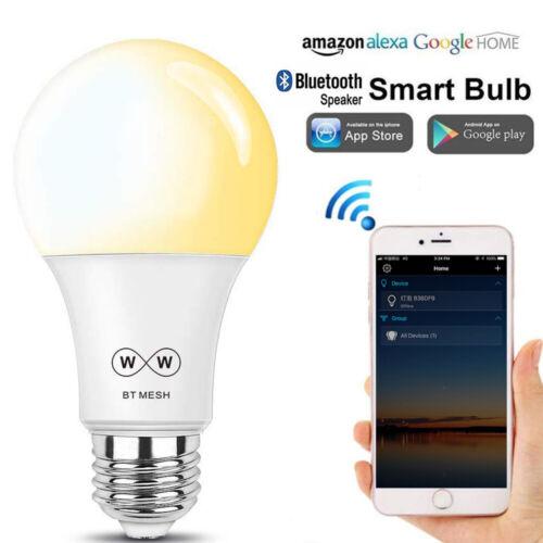E27 Smart LED Light Dimmable Bluetooth Bulb App Control For Alexa Google Home US