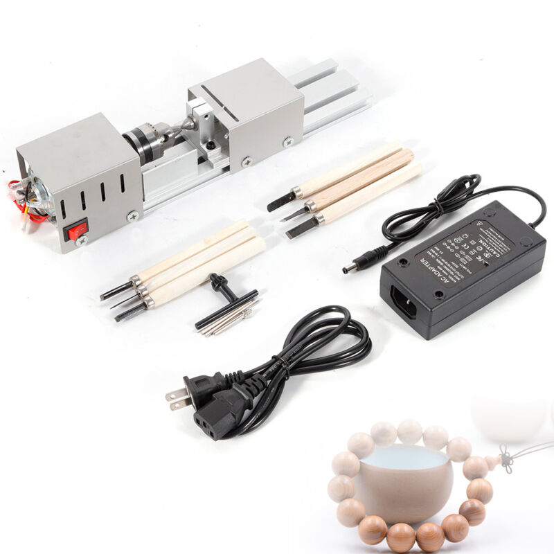 100W High Precision Mini Lathe Beads Polisher Woodworking Lathe Machine US