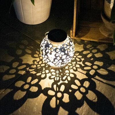 LED Solar Bola Cubrir Colgante Lámpara Flores Decoración Terraza Exterior Jardín