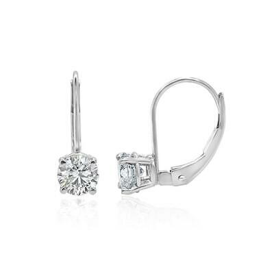 Solitaire Leverback Studs Earrings 1.01 Ct SI1 G Natural Diamond 14K White Gold