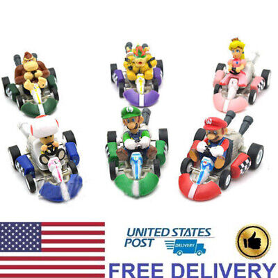 Super Mario Kart Luigi Peach Toad Bowser Pull Back Car Dolls Figure Gift Toys US