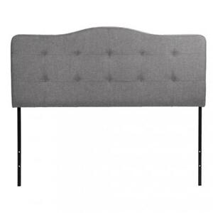 Modern Contemporary Fabric Upholstered Headboard, Queen Size Gray Q57