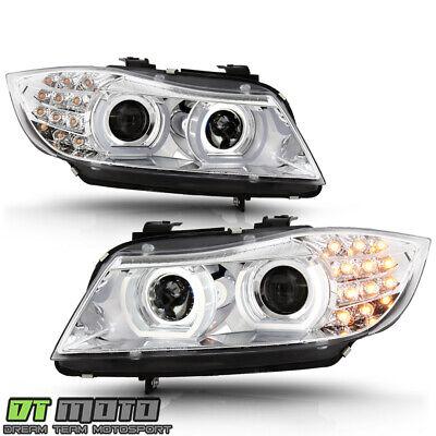 2009-2011 BMW E90/E91 Halogen 328i 335i Sedan LED 3D Halo Projector Headlights