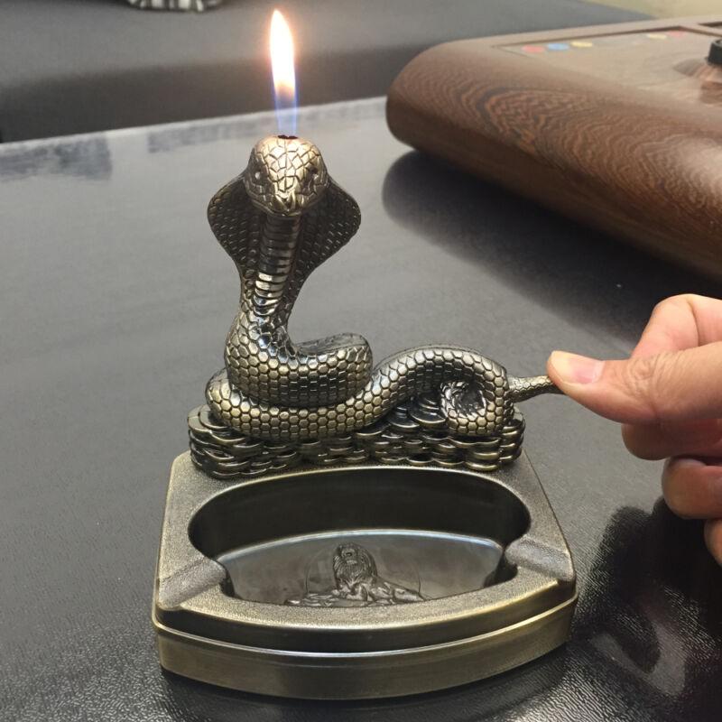 Snake Shape Novelty Cigarette cigar Ashtray Ash Tray with Refillable lighter