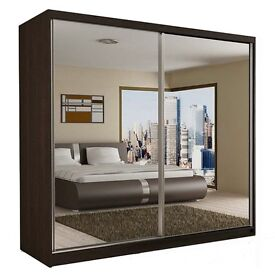 BUY - **- BRAND NEW - 203 BERLIN - GERMAN FULLY MIRROR SILDING DOOR WARDROBE + SAME DAY DELIVERY