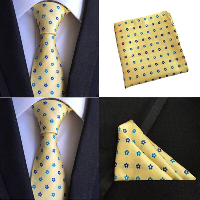 Men Yellow Blue Flower Silk Necktie Pocket Square Handkerchief Set Lot Hztie0078