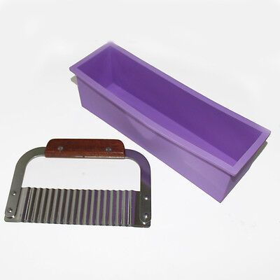 Soap Mold Silicone Loaf Wavy Stainless Steel Soap Cutter Slicer Make (Soap Making Mold)