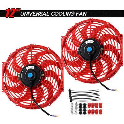"2 X 12"" inch Universal Slim Fan Push Pull Electric Radiator Cooling Mount Kit"