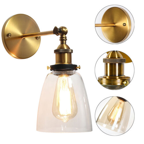 Industrial Glass Wall Light Sconce Retro Bedroom Ceiling Lam