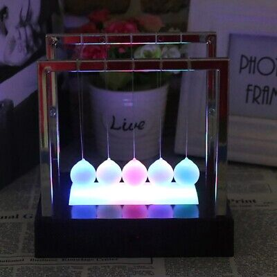 Led Newtons Cradle Light Swing Energy Science Toys Office Desk Balance Balls