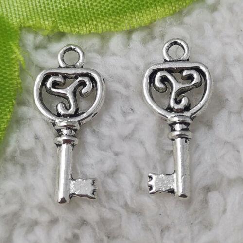 Free Ship 320 pcs tibet silver key charms 22X10mm