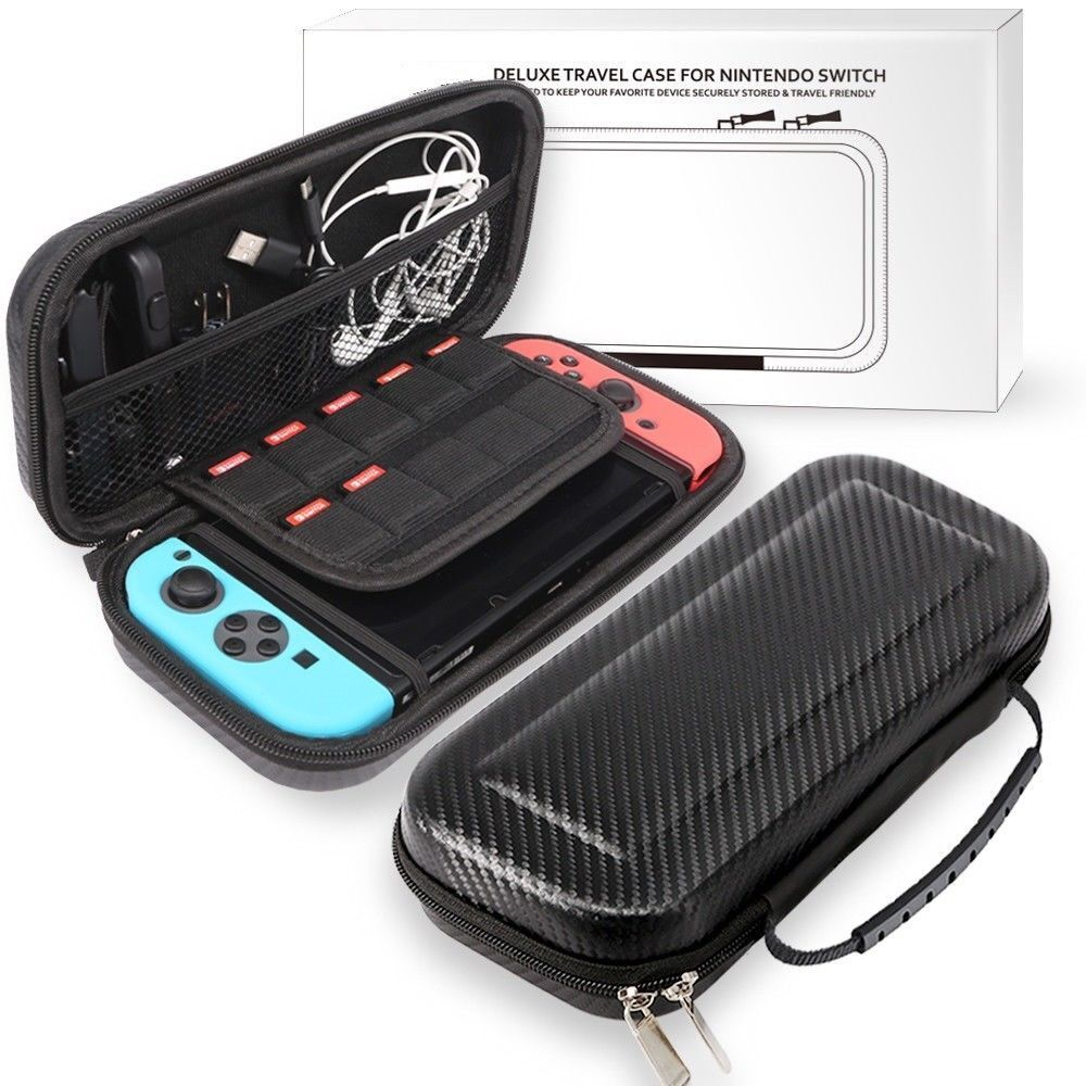 Nintendo Switch Black Carbon Fiber Carrying Bag Case + 1pc Tempered Glass Screen Bags, Skins & Travel Cases