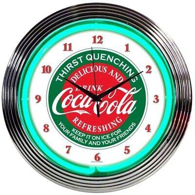 """Coca-Cola Evergreen Licensed Neon Clock 15""""x15"""" 8CCGRN-1"""