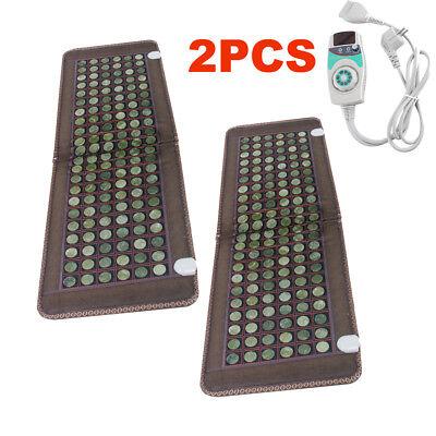2PCS Jade Tourmaline Heat Healing Therapy Mat Negative Ions FIR InfraRed Pad USA