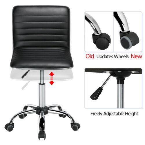 Low Designer Desk Chair Ribbed Swivel Task Chair Wheels Black