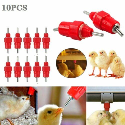 10 Pack Poultry Water Drinking Nipples Chicken Duck Hen Screw In Type Drinker