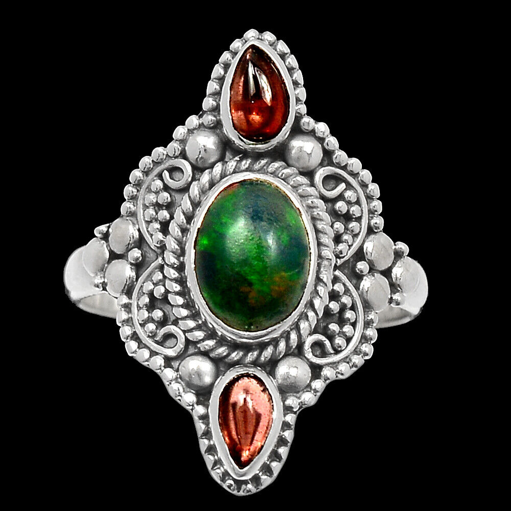Bali Design - Chalama Black Opal Garnet 925 Silver Ring Jewelry S.7 BR40859 - $17.99