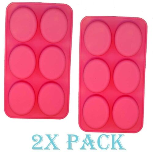 Set of 2 Oval Silicone Mold for Soap Bar Making Chocolate DIY Muffin Brownie