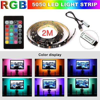 5V USB LED Strip Lights TV Back Light 5050 RGB Color Changing with 24 Key Remote