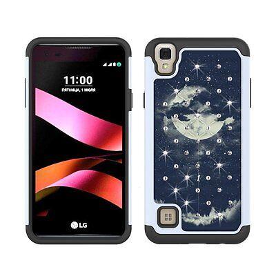 LG Tribute HD LG X Style LG Volt 3 Case Blue Moon Bling Hybrid Dual Layer Cover