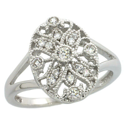 Sterling Silver Filigree Oval Ring w/ Brilliant Cut Cubic Zirconia Stones