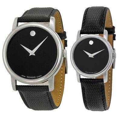 Movado Museum Black Dial Black Leather Strap Watch - Choose gender