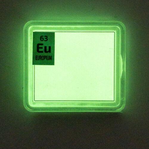 Europium rare earth amazing glow powder. Element Eu in a Periodic Element Tile.