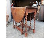 Solid Oak Oval Barley Twist Gate Leg Drop Leaf Table