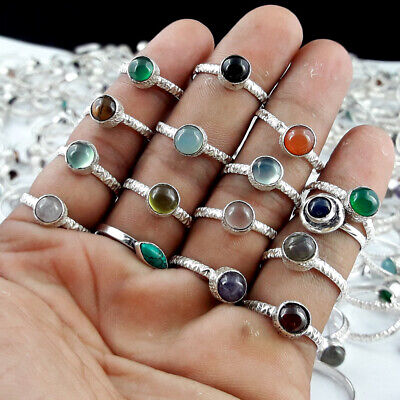 3 to 500 Pcs Onyx & Mix Gemstone 925 Sterling Silver Overlay Lot Baby Rings