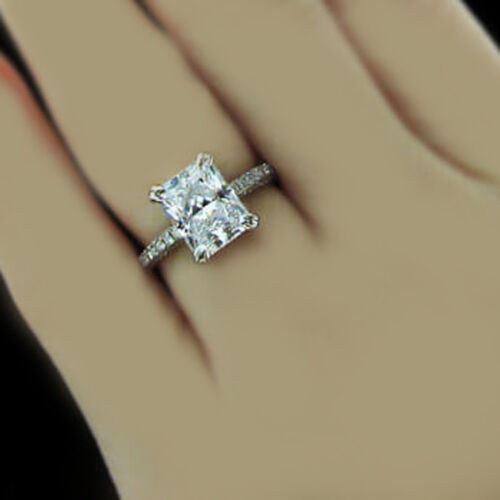 1.80 CT Radiant & Round Cut Diamond Engagement Ring GIA Certified 18k White Gold