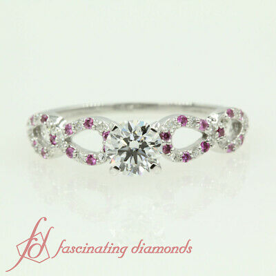 Pink Sapphire Engagement Ring 0.71 TCW. Round Cut Diamond SI2 14K GIA Certified 1