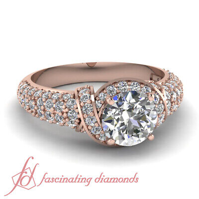 Round Cut Womens Diamond Rings Rose Gold Entwine Pave Set GIA Certified 1.70 Ct