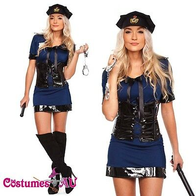 Ladies Navy Blue Police woman Costume Cops Uniform Officer Halloween Fancy Dress