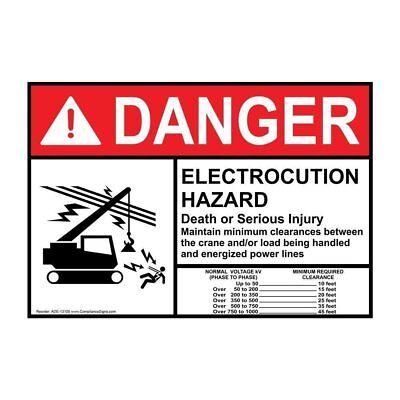 Danger Electrocution Hazard Crane ANSI Safety Label Decal, 10x7 in. Vinyl