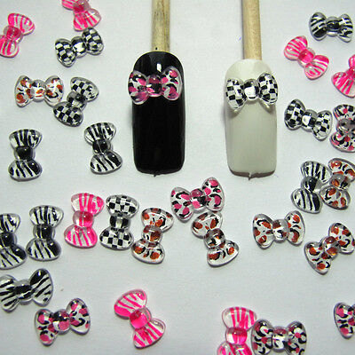 Nail Art 3d 50 Mix Print BOW /RHInESTONE For Nails, CellPhones New