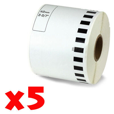 5 Roll 2-716 X 105ft 62mm Dk-2205 Continuous Label Compatible Brother Ql-570