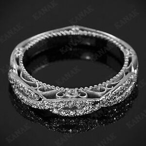 Ct Diamond  Sterling Silver Vintage Wedding Band Ring For Womens