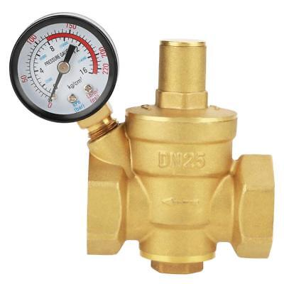 Dn25 Brass Adjustable Water Pressure Reducing Regulator Reducer W Gauge Meter