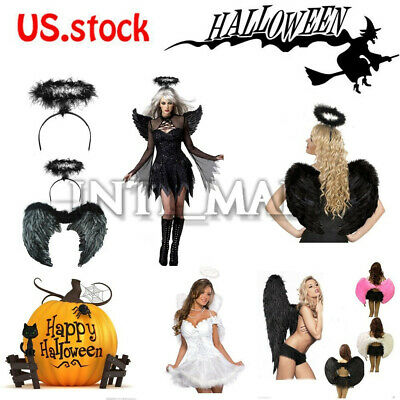 Halloween Fallen Angel Wings (Adult Kids Feather Wings Fallen Angel Halloween Fancy Dress Costume)