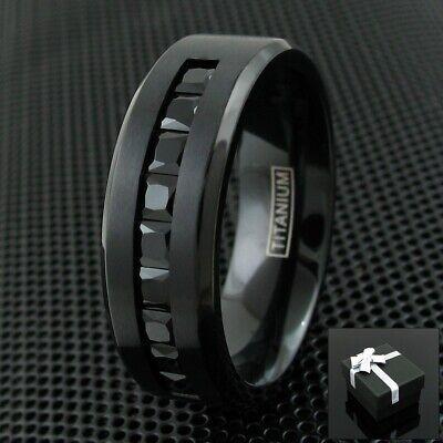 Black Titanium Men's 1.8 Carat Princess Cut Black CZ Brushed Wedding Band Ring Cut Brushed Wedding Ring
