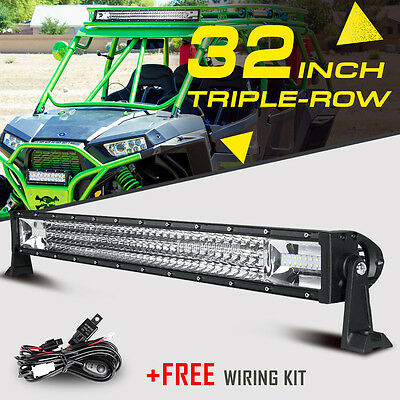 "32"" 1350W CREE TRI-ROW LED Light Bar Spot Flood Off Road UTV For Polaris RZR XP"