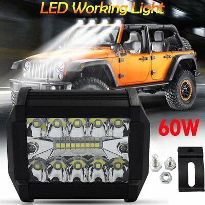 """60W 4"""" Car LED Work Lights Bar Flood Pods ATV Off-Road Driving Fog Lamp 12V"""