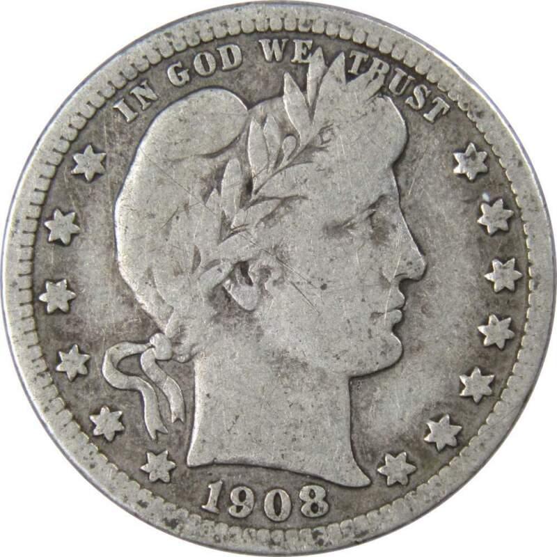 1908 D 25c Barber Silver Quarter US Coin Genuine