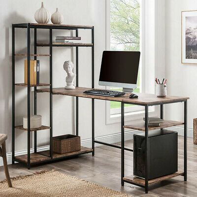 Home Office Computer Desk With Multiple Storage Shelves Large Writing Desk Table