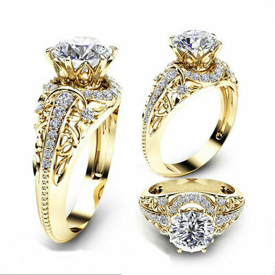 - Gorgeous Women Jewelry 18K Yellow Gold Plated White Sapphire Ring Wedding Sz6-14
